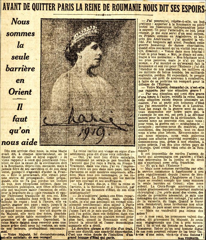 Regina Maria, în presa franceză a vremii <br /> Sursă foto: Arhivele Naționale ale României