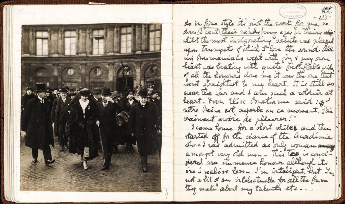 Fila din Jurnalul Reginei Maria la Conferința de Pace de la Paris din 1919 <br /> Sursă: Arhivele Naționale ale României