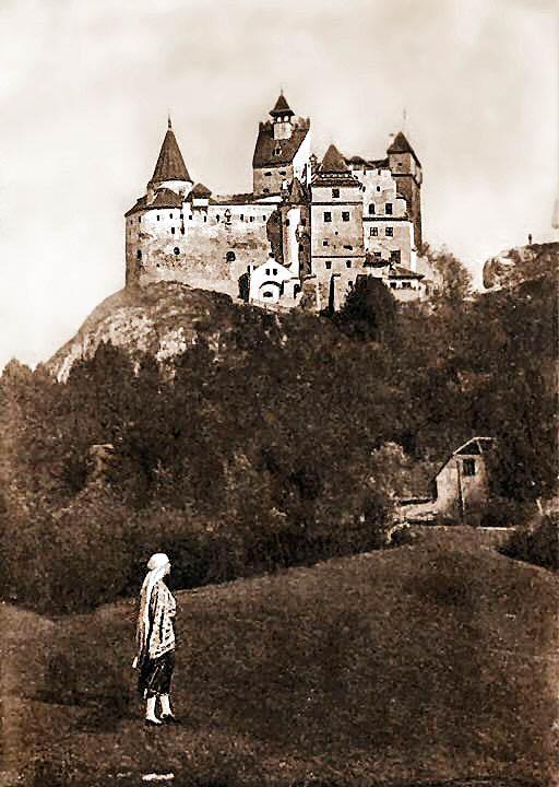 Regina Maria privind Castelul Bran din grădina sa cu dalii <br /> Sursă foto: Arhivele Naționale ale României